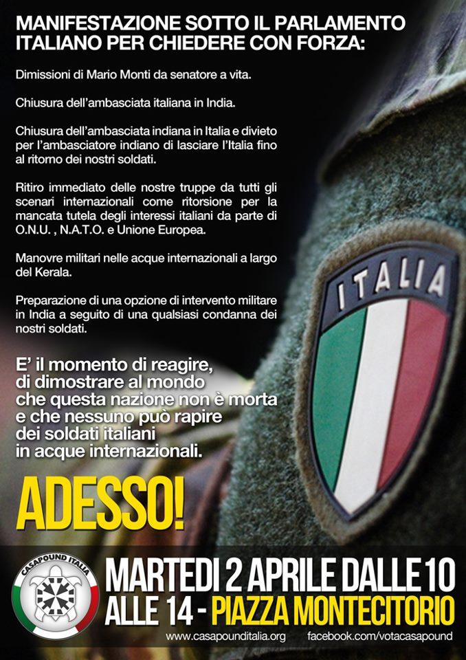 Caso marò: CasaPound Italia in piazza il 2 aprile, a Montecitorio per dimostrare che la Nazione non è morta