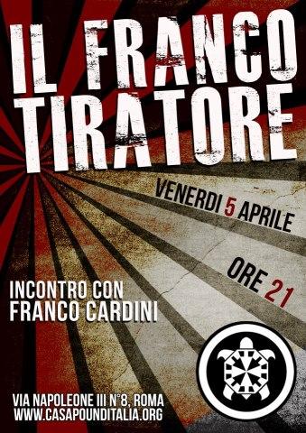 Franco Cardini il 5 Aprile a CasaPound, Via Napoleone III 8, Roma