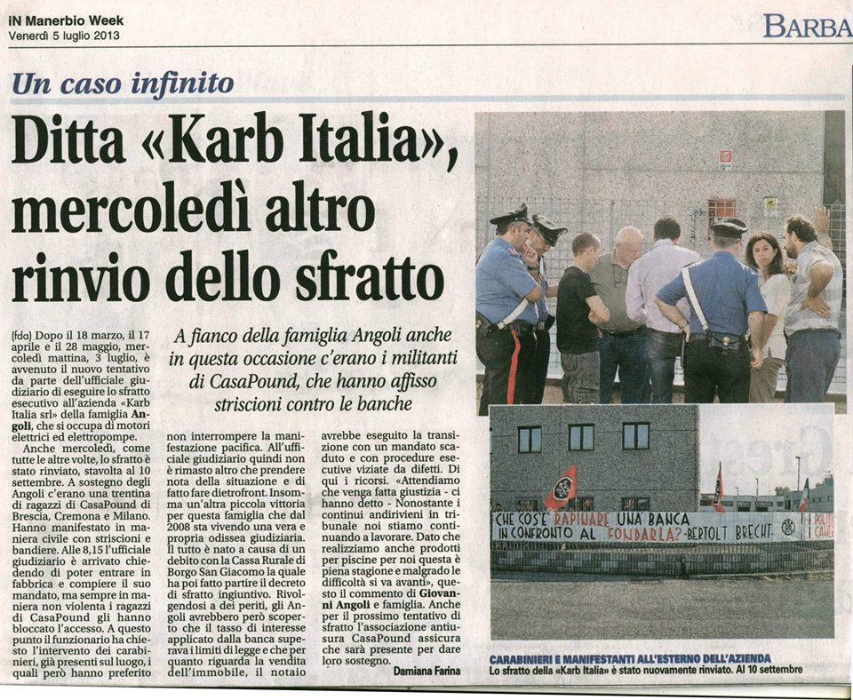 Mobilitazione di CasaPound evita nuovamente sfratto dell'azienda bresciana Karb Italia