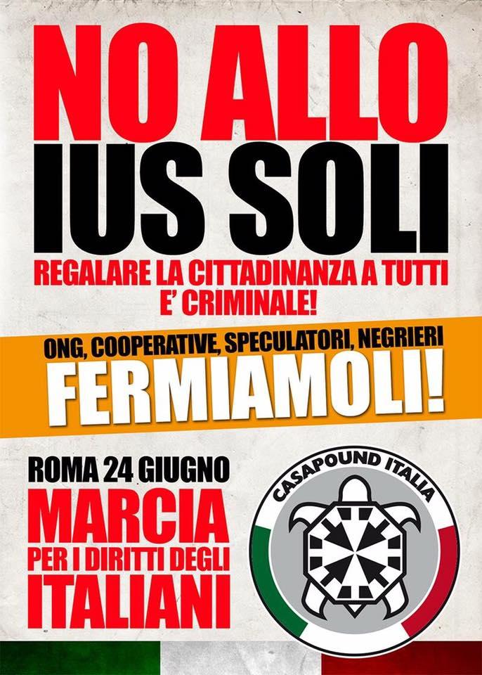 Ius Soli: CasaPound, sabato 24 marcia degli italiani al Colosseo