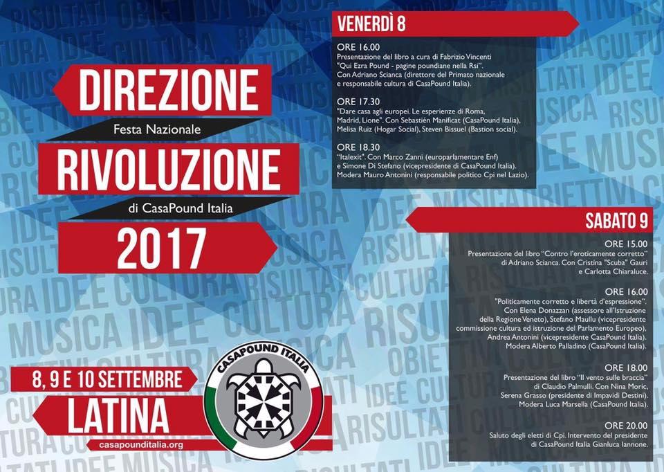 CasaPound Italia, dall'8 al 10 settembre la festa nazionale a Latina