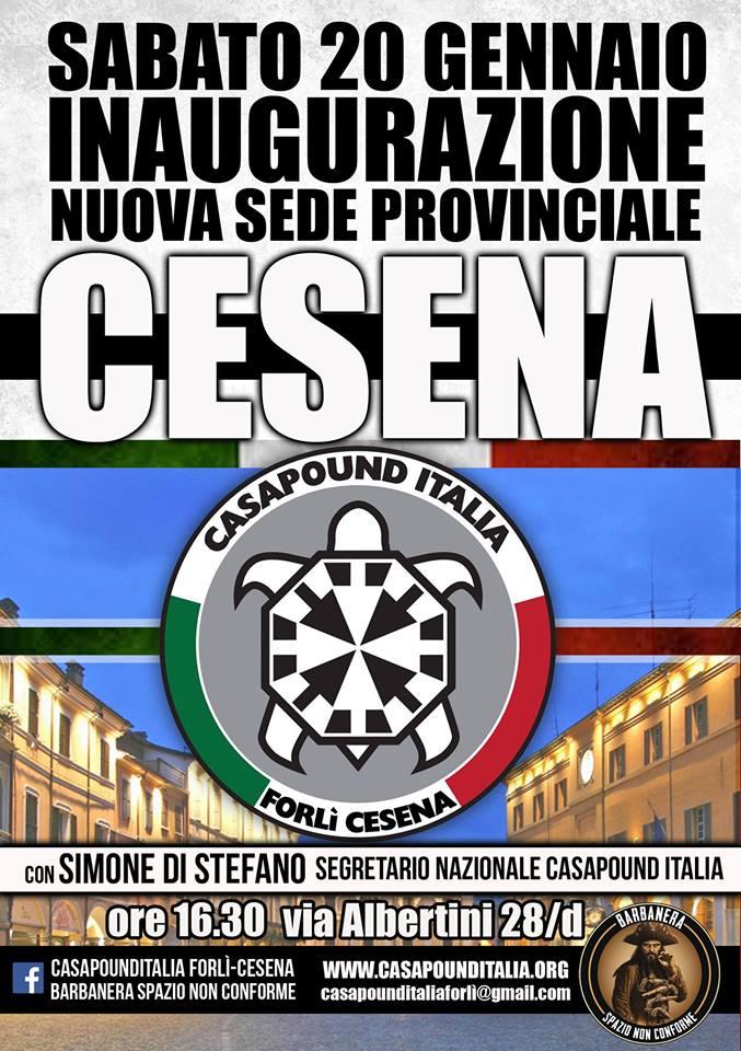 Cesena: sabato 20 CasaPound inaugura sede, interviene il candidato premier Simone Di Stefano
