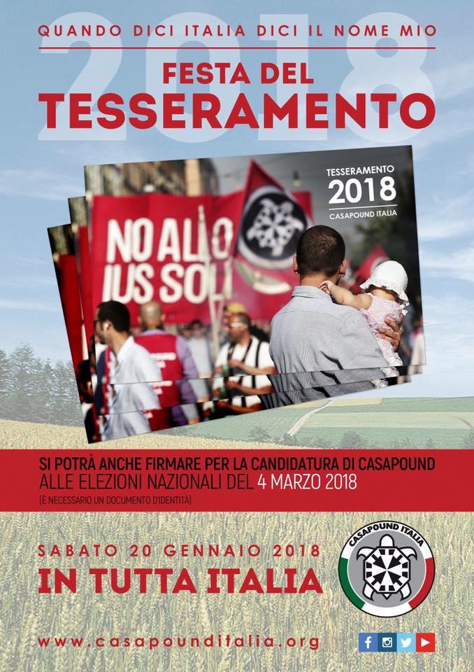 CasaPound: 20 gennaio festa del tesseramento in tutta Italia
