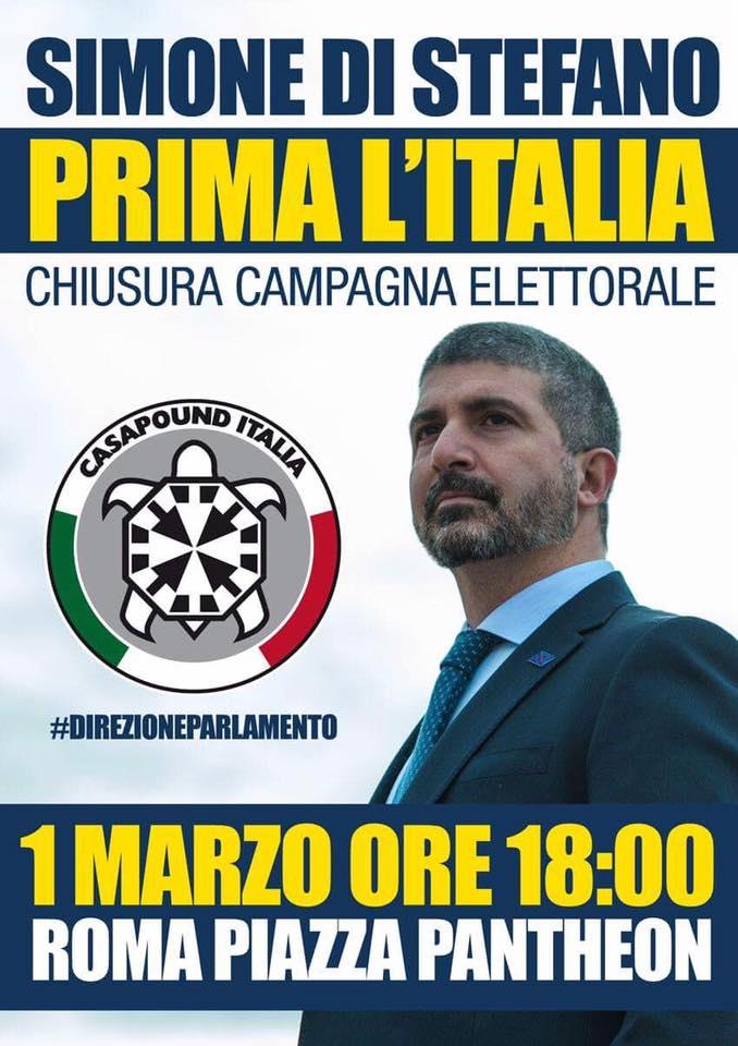 Elezioni: CasaPound chiude la campagna al Pantheon il 1 marzo con comizio Di Stefano