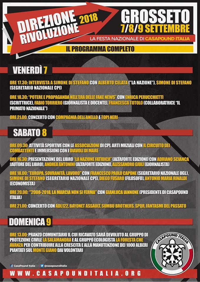 """CasaPound Italia: 7,8,9 settembre """"Direzione Rivoluzione"""" a Grosseto, tra gli ospiti Capone, Fusaro, Giuli e Rinaldi"""