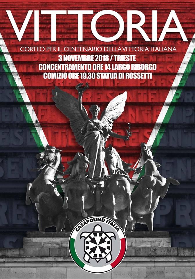 """Grande Guerra, sabato il corteo di CasaPound a Trieste: """"Chi sente l'orgoglio di essere italiano in piazza con noi"""""""