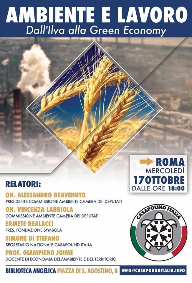 Conferenza 'Ambiente e Lavoro. Dall'Ilva alla Green Economy' con Simone Di Stefano e il Presidente della Commissione Ambiente della Camera dei Deputati