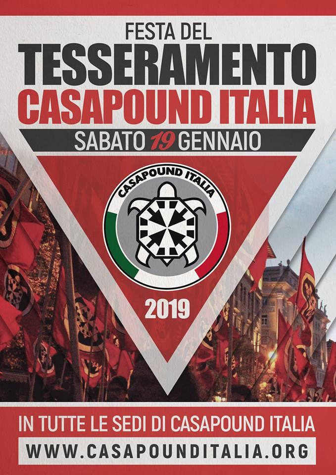 CasaPound: al via la campagna adesioni 2019 con feste del tesseramento in tutta Italia