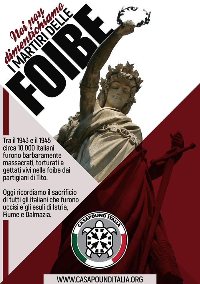 Foibe, CasaPound ricorda i martiri in decine di città italiane
