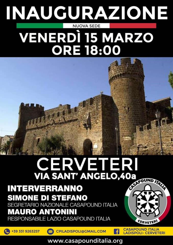 Simone Di Stefano inaugura le nuove sedi di CasaPound a Cerveteri (RM) e Nicotera (VV)