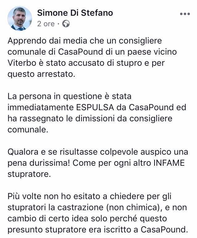 Viterbo: CasaPound espelle arrestati, Chiricozzi si dimette da consigliere comunale