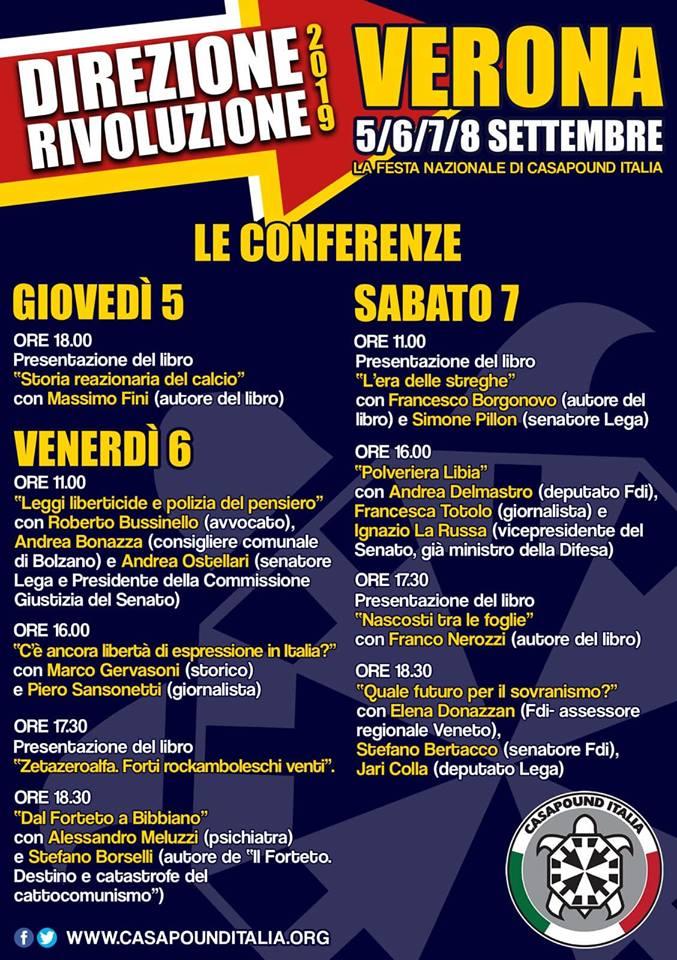 CasaPound: dal 5 all'8 settembre la festa nazionale a Verona, La Russa, Pillon e Ostellari tra gli ospiti