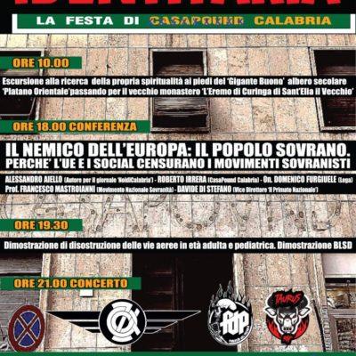 Identitaria, si svolgerà a Catanzaro la festa regionale di CasaPound Calabria