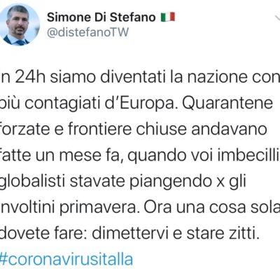 """Di Stefano su Coronavirus: """"il governo ora si dimetta"""""""