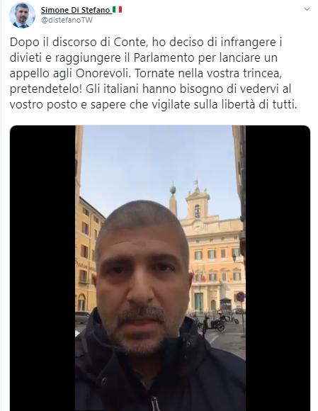 """Simone Di Stefano davanti al Parlamento: """"Una trincea da difendere per vigilare sulla libertà di tutti"""""""