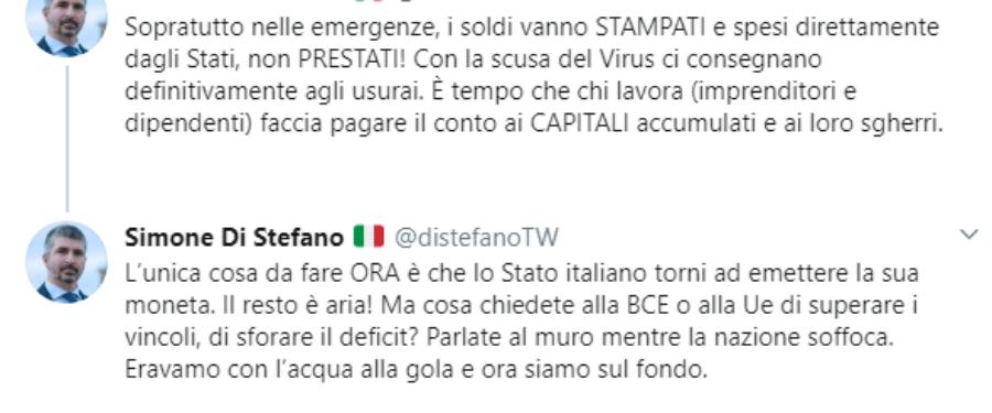 Simone Di Stefano su UE e aiuti per Coronavirus
