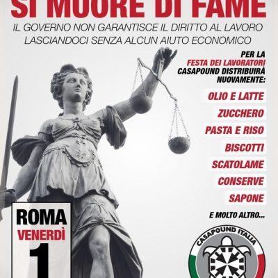 Roma, il Primo Maggio nuova distribuzione aiuti a CasaPound per centinaia di famiglie italiane
