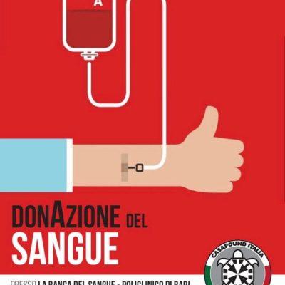 Bari : CasaPound organizza raccolta sangue al Policlinico, in ricordo delle vittime del covid-19.