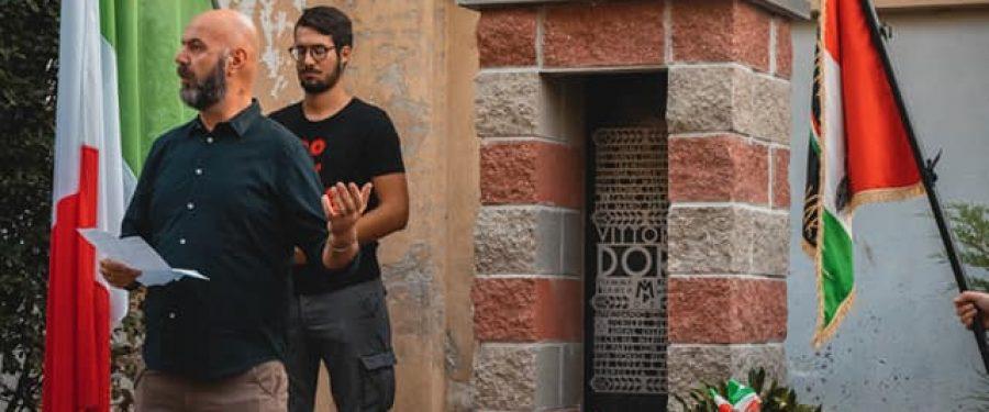 Novara, CasaPound inaugura monumento alla Fiamma Bianca Vittorio Dorè, diciassettenne fucilato a guerra finita