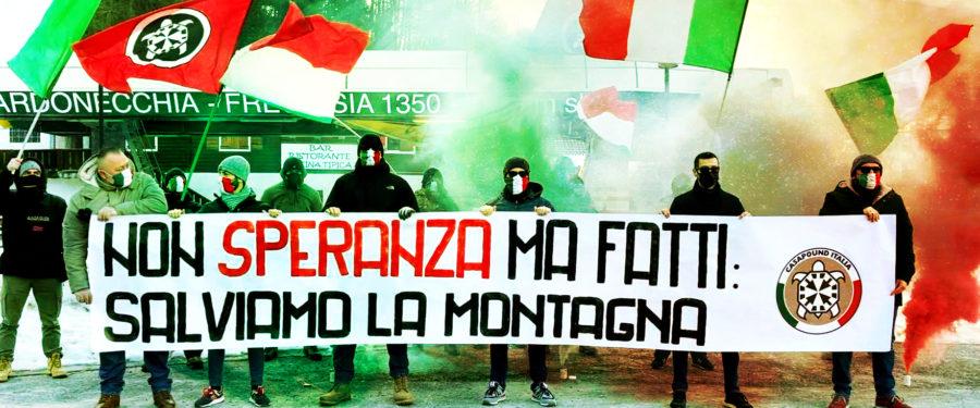 """Governo, striscioni di CasaPound nei maggiori impianti sciistici in Italia: """"senza Speranza"""""""