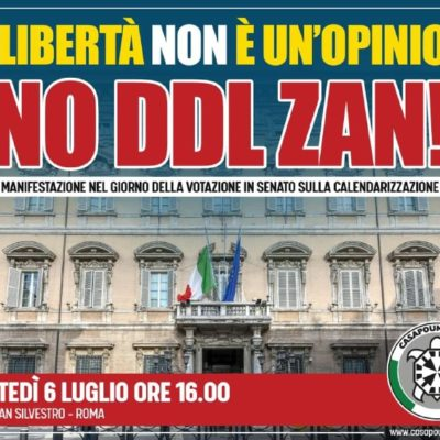 """Ddl Zan, CasaPound manifesterà nei pressi del Senato il 6 luglio: """"legge liberticida che non deve passare"""""""