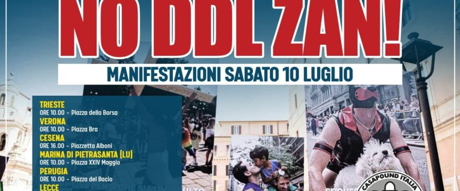 """Ddl Zan, CasaPound: sabato manifestazioni in tutta Italia, """"legge non deve passare, difendiamo la libertà di espressione"""""""