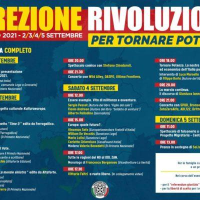 """CasaPound: a settembre """"Direzione Rivoluzione"""" a Grosseto, tra gli ospiti Feltri, Borgonovo, Sofo e il comico Chiodaroli"""